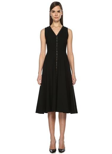 Önü Düğme Şeritli Volumlu Elbise-Beymen Collection